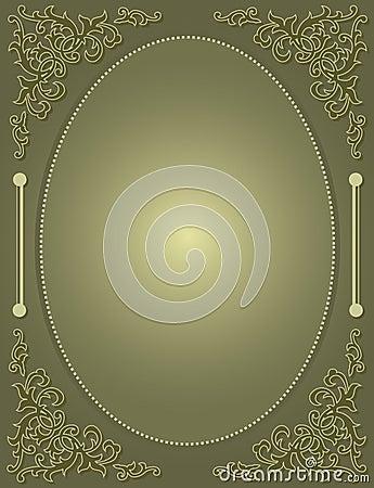 Wedding invitation with green ornamental frame / c