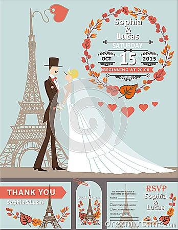 Wedding Invitation Groom Bride Eiffel Tower Autumn Stock