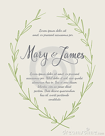 Wedding Invitation with Hand drawn laurel wreaths. Vintage design Vector Illustration