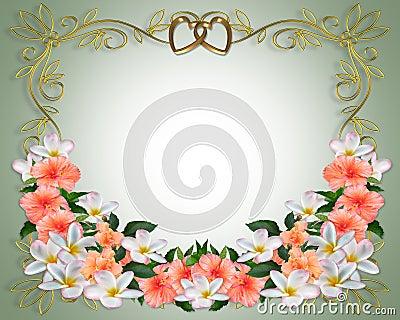 Wedding Invitation Hibiscus Plumeria
