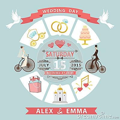 Free Wedding Invitation In Infographic Style. Bride,groom On Retro Bi Stock Photo - 42672750