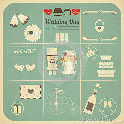 Wedding Invitation Infographics Retro Card