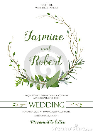 Wedding Invitation, invite card wreath Design with willow Eucalyptus tree, green leaf herb plant branches greenery mix frame compo Vector Illustration