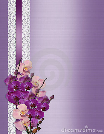 Wedding invitation Orchids on lavender satin