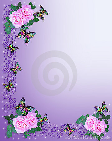 Wedding Invitation Pink Roses Butterflies