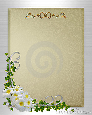 Wedding invitation plumeria and ivy
