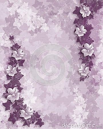 Wedding invitation purple floral template