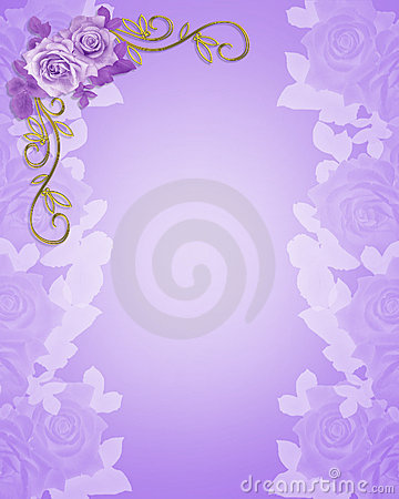 Wedding Invitation purple Roses