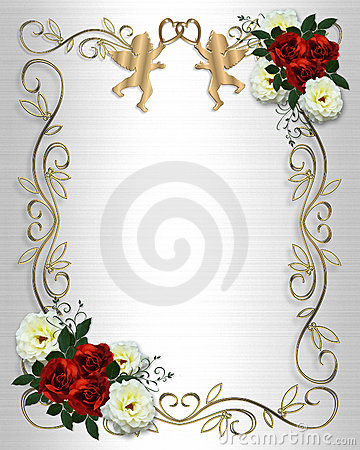 Wedding invitation Red Roses Border on satin