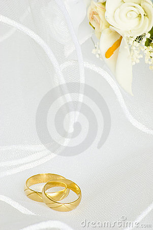 Wedding invitation - rings and flowers over veil