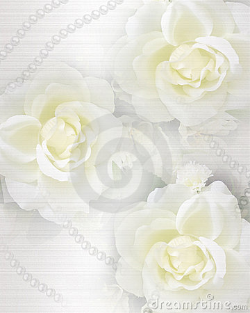Wedding invitation roses and pearls