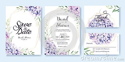 Wedding Invitation, save the date, thank you, RSVP card Design template. Vector. hydrangea flowers, olive leaves. Watercolor style Vector Illustration