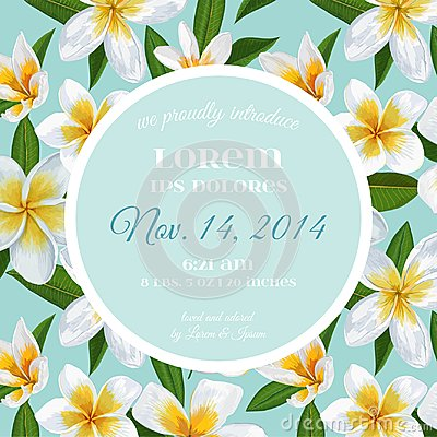 Free Wedding Invitation Template With Plumeria Flowers. Tropical Floral Save The Date Card. Exotic Flower Romantic Design Royalty Free Stock Images - 115533609