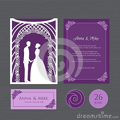 Free Wedding Invitation With Bride And Groom Of A Wedding Arch. Paper Royalty Free Stock Image - 110495196