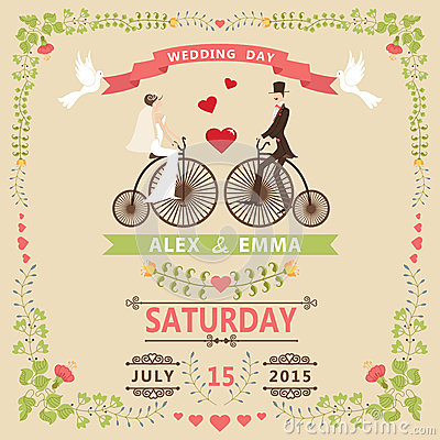 Free Wedding Invitation With Bride,groom,retro Bicycle,floral Frame Stock Image - 41190381