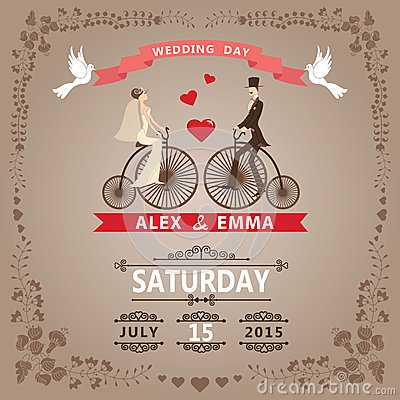 Free Wedding Invitation With Bride, Groom,retro Bicycle, Floral Frame Royalty Free Stock Photography - 41190397