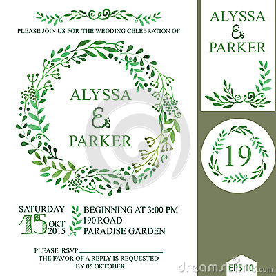 Free Wedding Invitation With Watercolor Brunches Wreath Royalty Free Stock Photos - 50395308