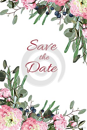 Free Wedding Invite Invitation Card Vector Floral Greenery Design: Forest Fern Frond, Eucalyptus Branch Green Leaves Foliage Royalty Free Stock Photo - 113222055