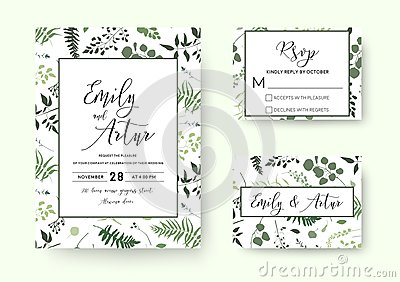 Wedding invite, invitation rsvp card vector floral greenery silhouette design: palm fern tree, foliage natural branches, green le Vector Illustration