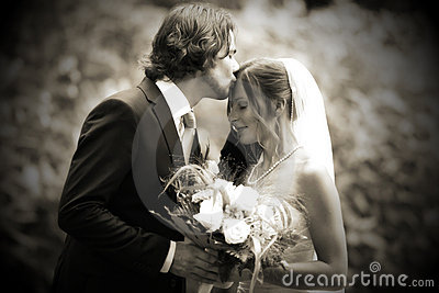 Wedding kiss very romantic