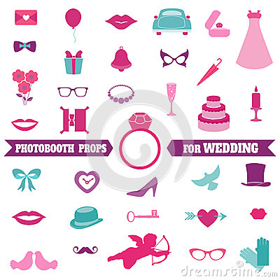 Free Wedding Party Set - Photobooth Props Stock Photo - 37869880