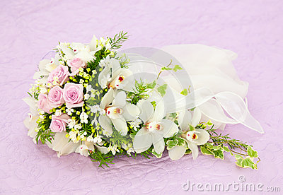 Wedding Pink Roses And White Orchid Bouquet