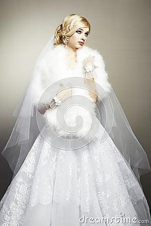 Wedding portrait of beautiful young bride