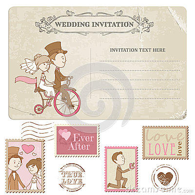 Free Wedding Postcard And Postage Stamps Royalty Free Stock Image - 29100986