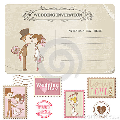Wedding Postcard And Postage Stamps Royalty Free Stock Photography