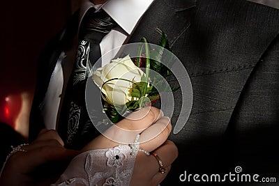 Wedding posy on the lapel of groom s jacket