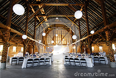 Wedding reception at barn