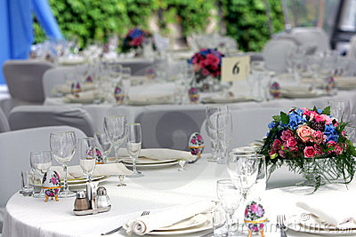 Wedding reception laid tables
