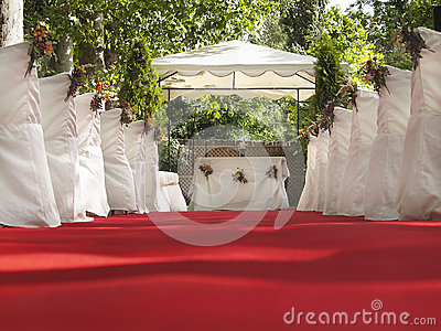 Wedding red carpet to Altar