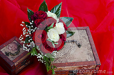 Wedding red and white roses bouquet
