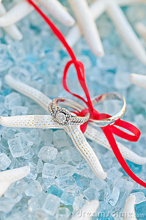 Wedding ring and band on a sea star