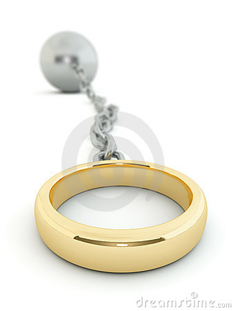 Wedding ring chained to a heavy ball