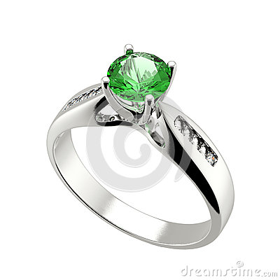 Wedding ring with diamond on white background. Sign of love. Eme