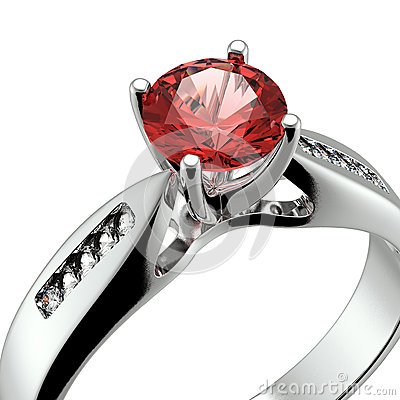 Wedding ring with diamond on white background. Sign of love. Gar
