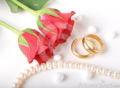 Wedding ring & rose Stock Photo