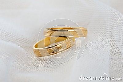 Wedding ring on white veil
