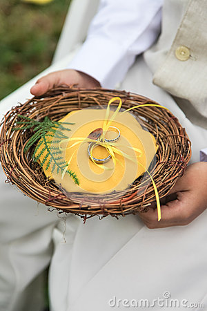 Wedding rings in basket