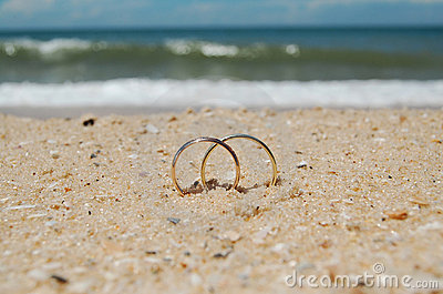 Wedding rings on a beach