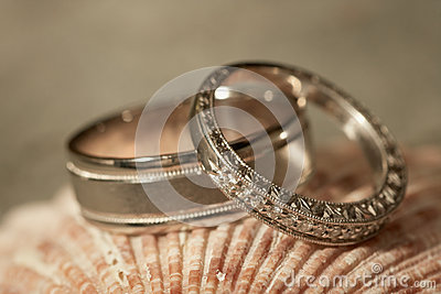 Wedding rings at beach
