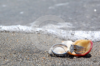 Wedding rings on beach by sea