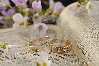 Wedding rings, Bible and flowers