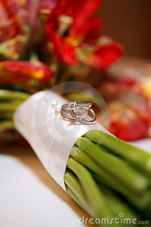 Wedding Rings on Bouquet
