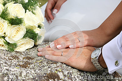 Wedding, rings and bouquet