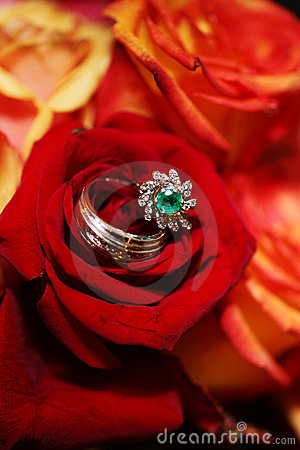 Wedding Rings on Bouquet - Red Roses