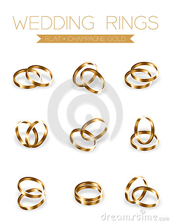 Wedding rings champagne gold flat style compose design Vector Illustration