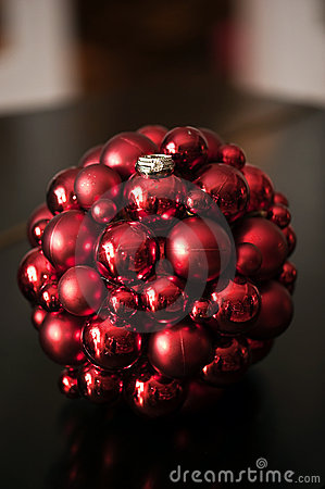Wedding rings on Christmas ornament